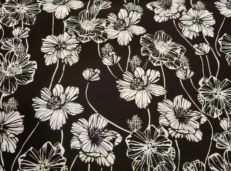 Black And White Cotton Poplin Shirting W Striking Bold Graphic