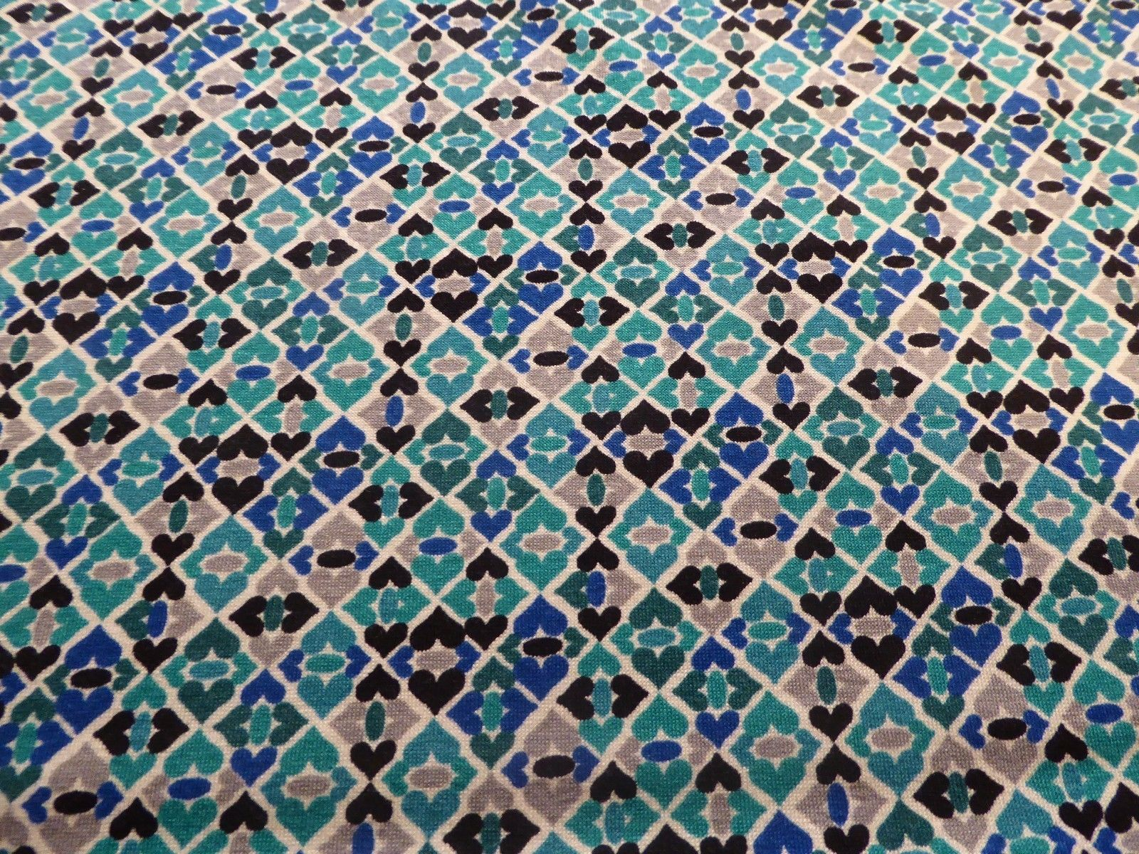 Blue and Green Moroccan Tile Geometric Abstract Viscose Knit from ...