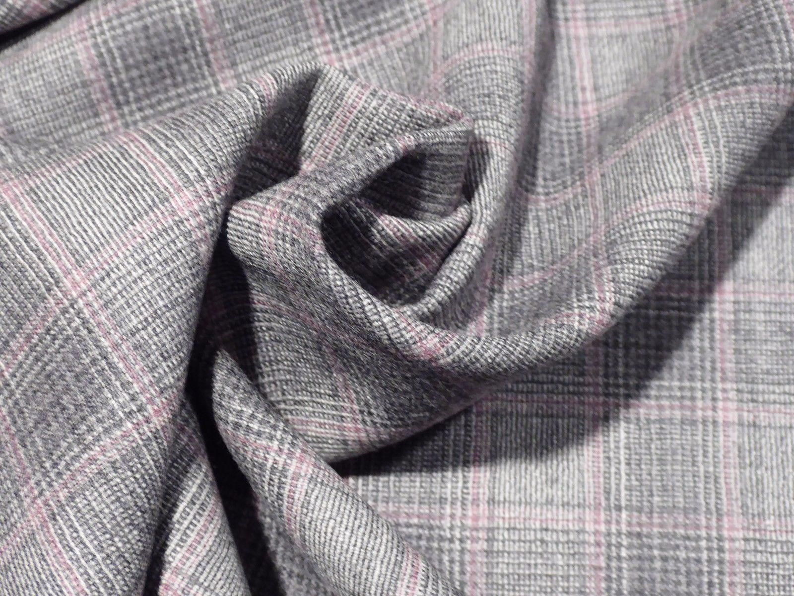 Very Fine Italian Pure Wool Suiting - Gray, White, Plaid with Pink-Red  Stripe