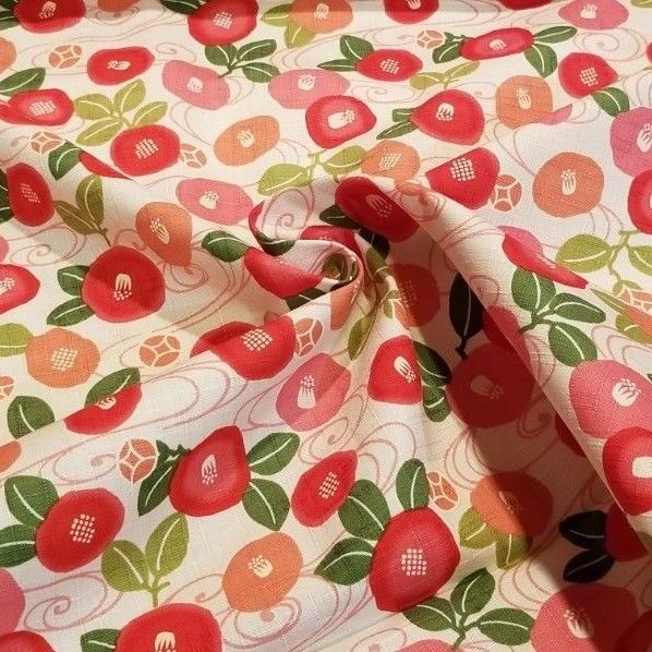 Darling Round Flowers on White Japanese Cotton Dobby in Pink & Coral - So  Cute!
