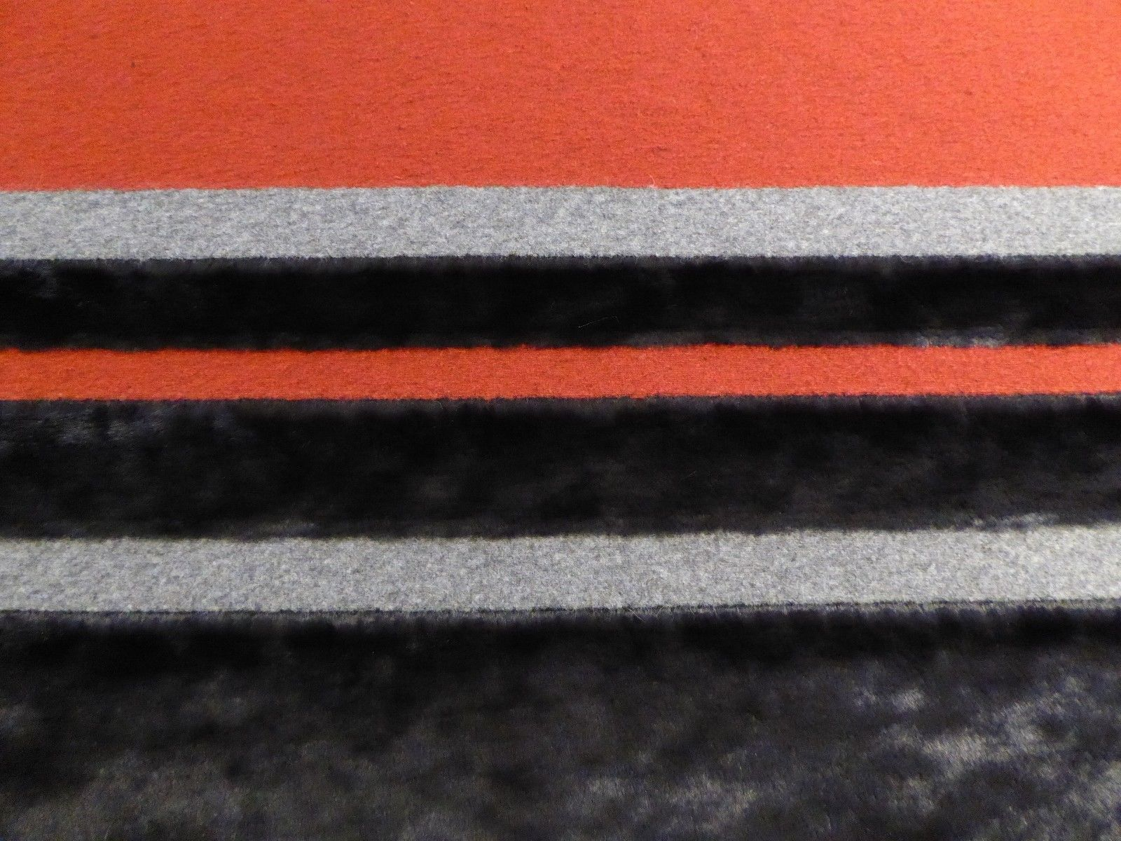 Black Red Gray Stripes FAUX FUR WITH WOOL PATTERNED COATING FROM ITALY