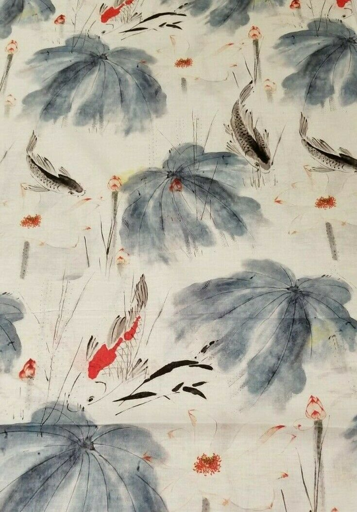 Koi fish swim in a lotus pond chinoiserie print on linen for Koi pond you can swim in