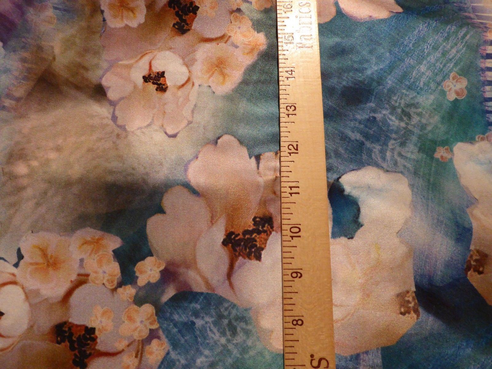 Breathtaking Designer Silk Charmeuse Watercolor Flowers Print