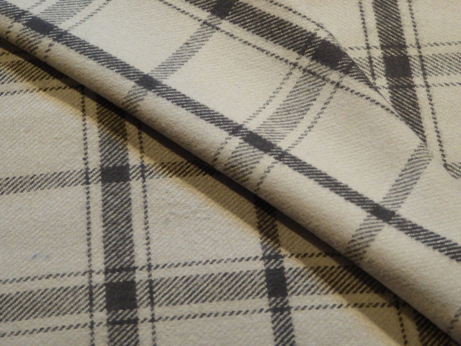 Plaid Cotton Brushed Flannel Light and Dark Gray Understated VERY SOFT