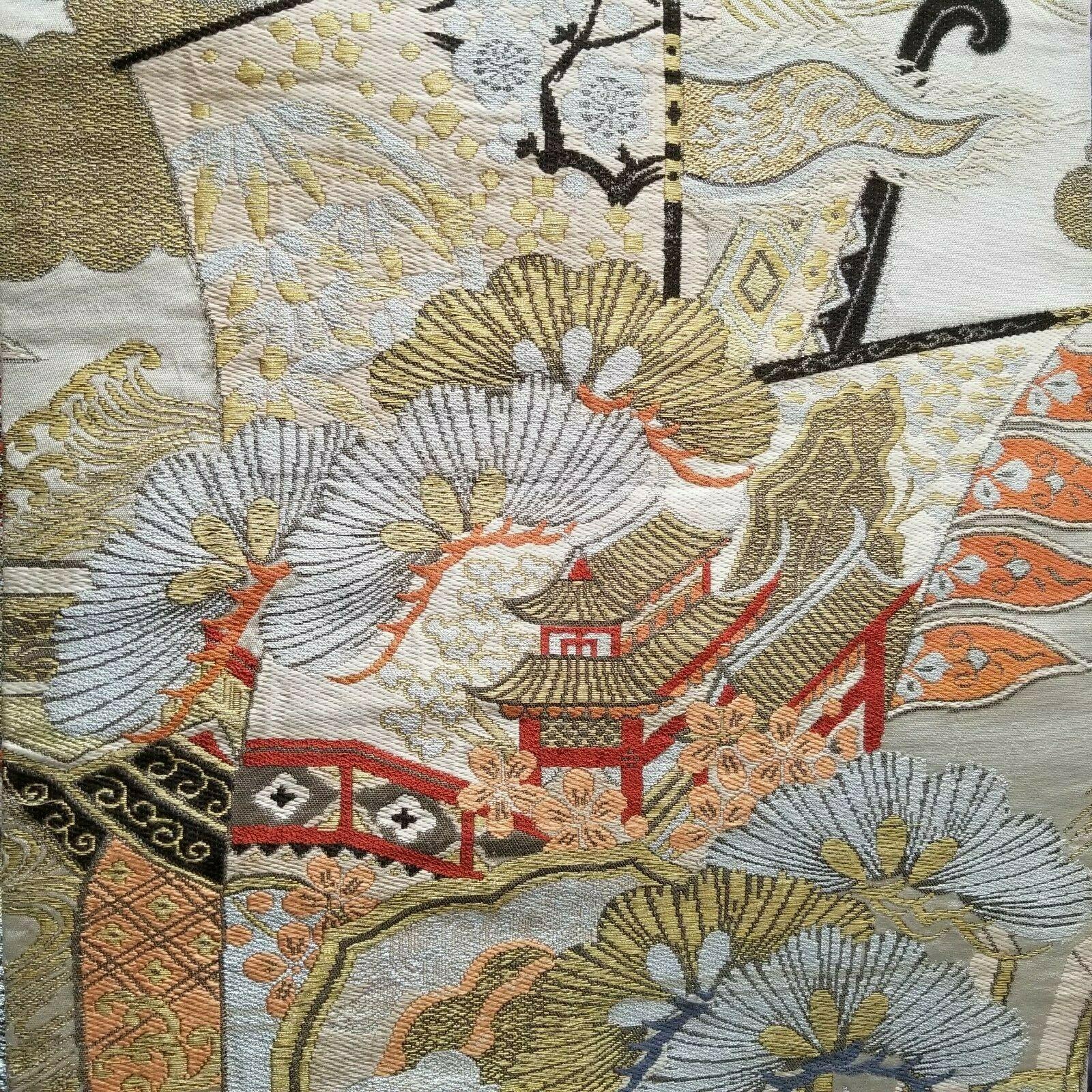 Beige Silk Vintage Obi w Ox Carts & Pavillions Under